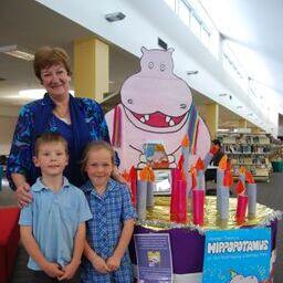 hazel with kids hippo party