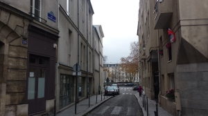 The street outside the studio--Rue Geoffrey l'Asnier, looking towards the Seine