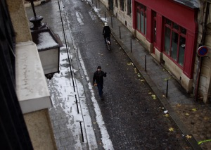 walking to the local boulangerie, winter