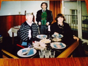 Marion, husband Graham, and a friend in the studio, 1991