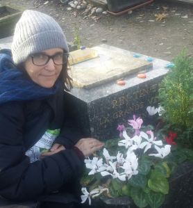 Ursula at pet cemetery in Paris(grave of Rin Tin Tin)