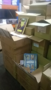 Christmas Press books in DJA warehouse
