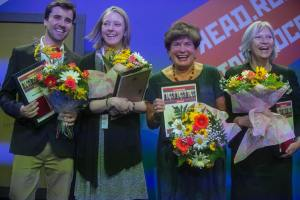 Lisa(second from left) at ceremony for the Read Russia Prize, with winners of other categories. Photo by Anatoli Stepanenko, used with his kind permission.